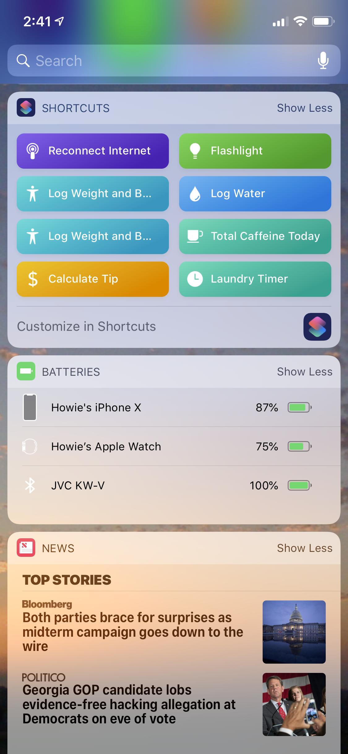 shortcuts - widget