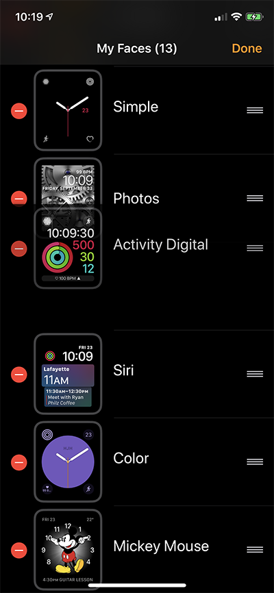 iPhone Organize Watch Faces